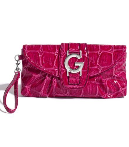 G by GUESS Floressa Clutch - Mix up the ways you carry your G-Style. Rock the wrist strap for a low-key evening and step it up by wearing it as a clutch for a nighttime of high style. ? Patent exterior. Silver-tone hardware. ? Fr... - Clutches