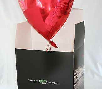 Land Rover used a balloon in a box to invite 100 customers to the opening of their Liverpool showroom. On the end of the balloon string was the marketing message and event invite, making the follow-up sales call a welcomed experience.