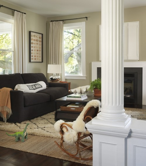 Green Rug Brown Sofa: Gray Couch, Tan Walls, White Accents, Black Frames