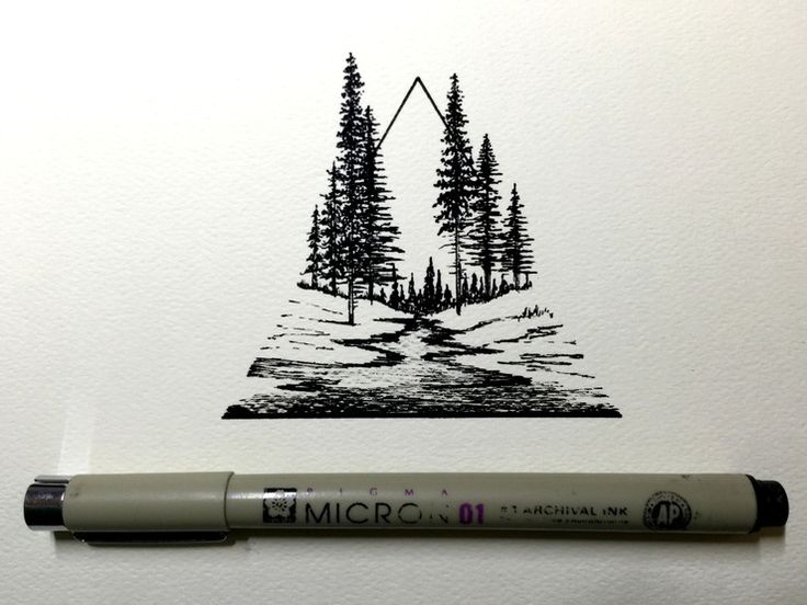 This drawing by Derek Myers is absolutely stunning. It's small, yet so detailed. Love this triangular landscape w/ the river running through the forest!
