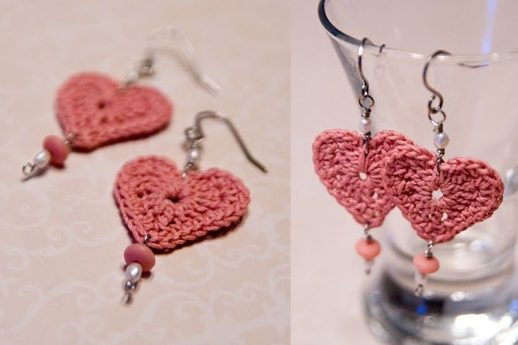 crocheted heart earrings pattern | FREE CROCHET PATTERN FOR HEARTS | Crochet and Knitting Patterns