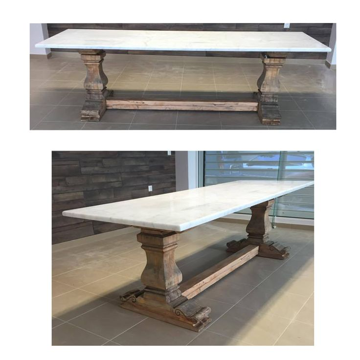 Custom-made dining table from wood and marble