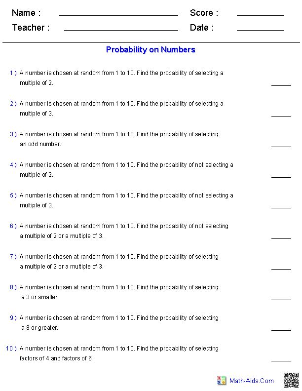 probability worksheets on numbers math aids com pinterest worksheets and numbers. Black Bedroom Furniture Sets. Home Design Ideas