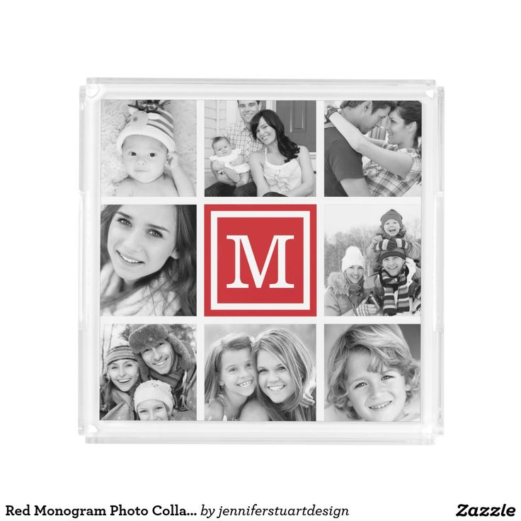 Red Monogram Photo Collage. Inspiration to create your product. The photograph must have good resolution. Inspiración para crear tu producto. La fotografía debe tener buena resolución. Bandejas Serving Trays, home decor, decoración. Producto disponible en tienda Zazzle. Decoración para el hogar. Product available in Zazzle store. Home decoration. Regalos, Gifts. #Bandejas #Serving #Trays
