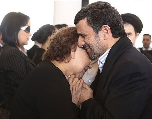 """While someone in Dear Leader's Administration plays a little tit for tat by booting Orlando Jose Montanez Olivares and Camacaro Mata, ambassadors of Venezuela out of the US declaring them to be """"personae non gratae"""" Iran's President is taking heat for his comforting cuddle with Hugo's mother. After finally burying charges of being a gen, or genie, by opposing members of his cabinet, Ahmadinejad is now being labeled as a degenerate for touching a non-mahram. Oh, the indecency!"""