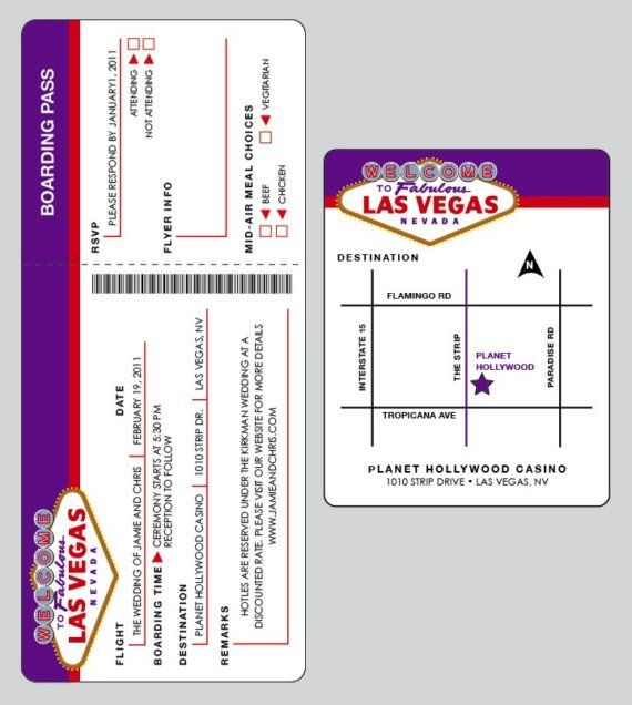 Retro - Las Vegas Wedding Airline ticket Invitation Set with matching address labels and envelopes