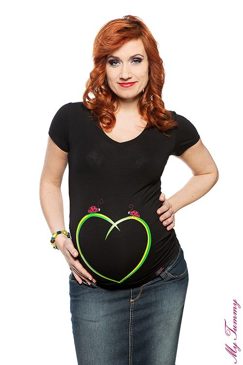 T-shirt ciążowy Biedronki czarny