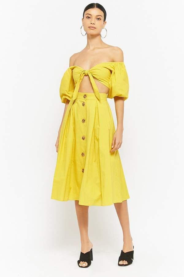 74eb7faf4688a Forever 21 Puff-Sleeve Crop Top & Skirt Set | Women Top | Mini dress ...