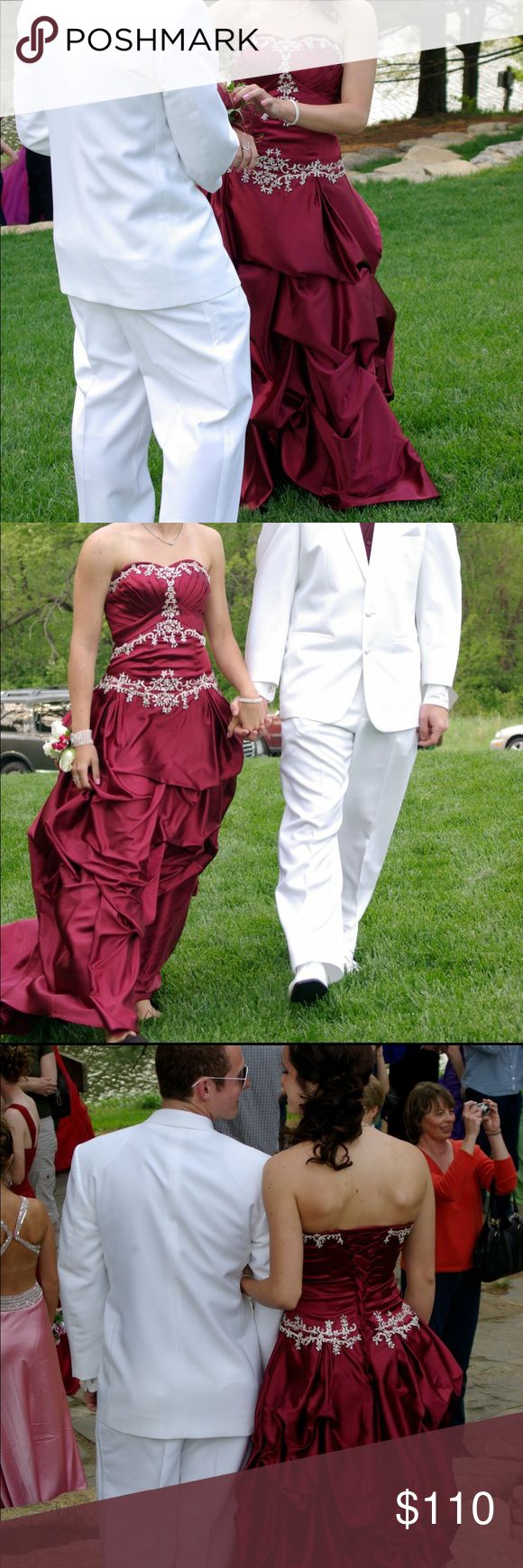 "Burgundy prom dress Absolutely stunning dress from Blossom's Bridal. Worn once to a dance and in great condition. Model in pictures is 5'7"" and 135 lbs Blossom's Bridal Dresses Prom"