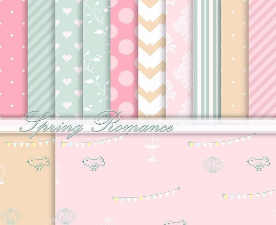 Spring Digital Paper Romantic Background Papers Sweet