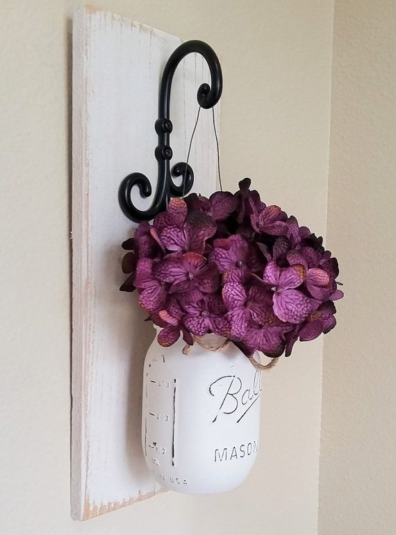 Mason Jar Wall Decor, Country Chic Wall Decor, Hanging Mason Jar Sconce, Mason…
