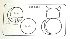 How to cut a cat-shaped cake from 2 round cakes (Original via Betty Crocker)