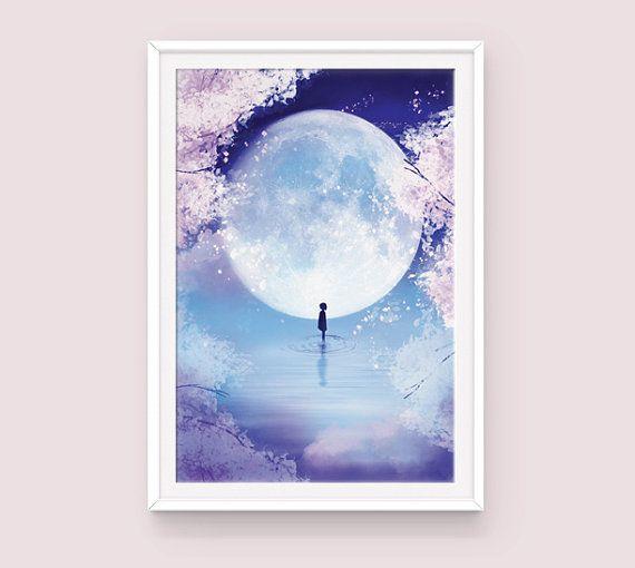 Anime Art Print Poster: Moon Child, Fantasy Art Print, Moon Poster, Fantasy Poster, Spring Poster