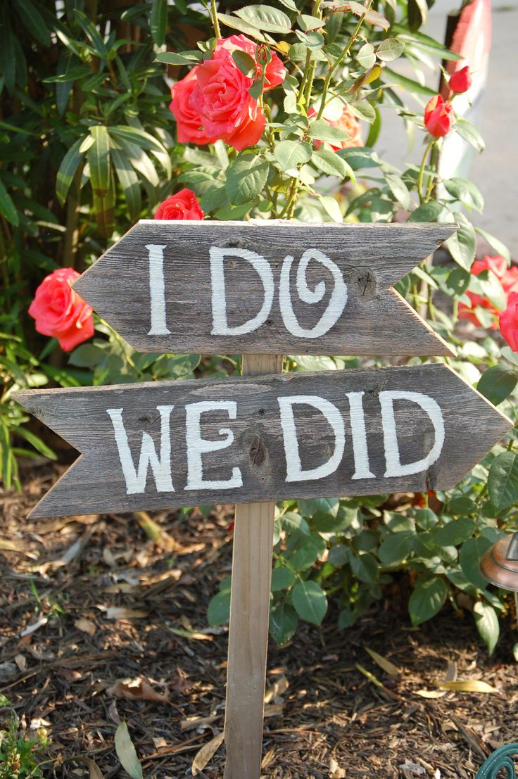 """I do, We did"" wedding sign"