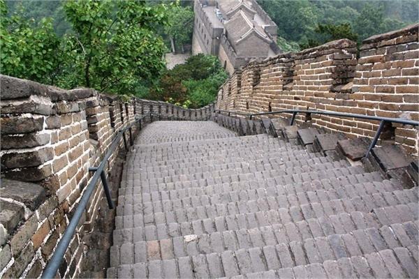 The Great Wall of China, where climbing down is just as hard as climbing up