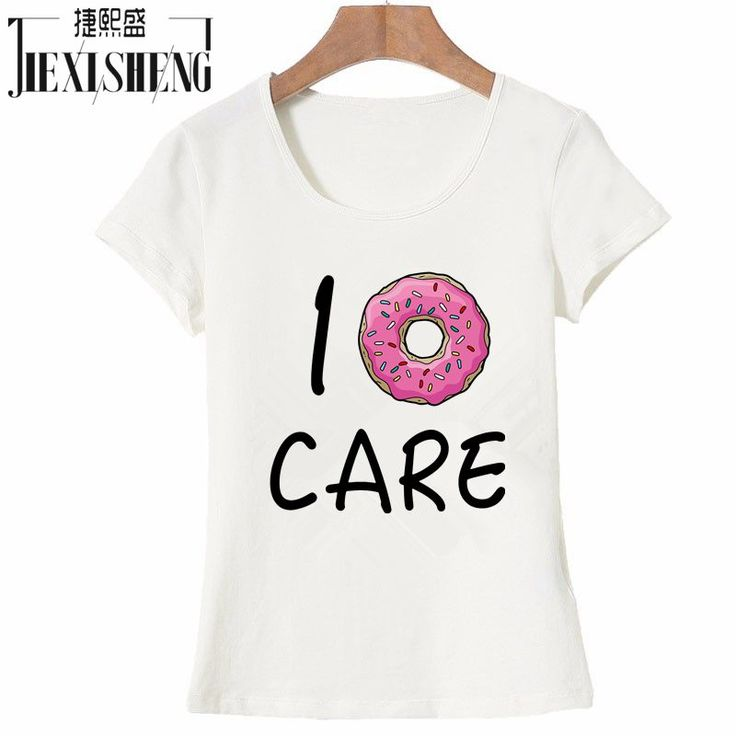 US $6.56 -- AliExpress.com Product - 2017 Hot Summer Women T-shirt I Donut CARE Letter T Shirt Funny Print Tees Couple Tops