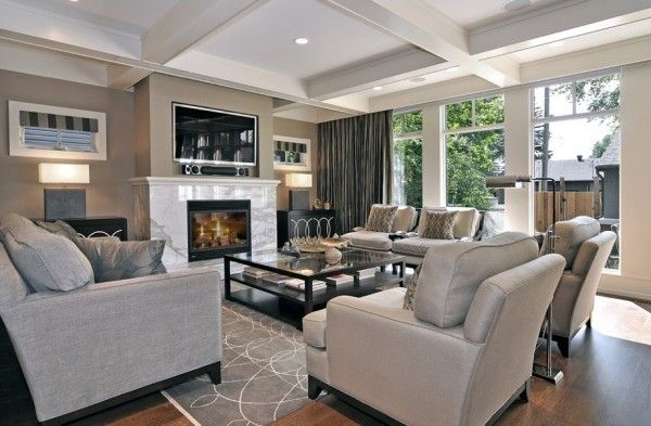 gray living room with dark wood floors | Creating Comfortable Interiors with Beautiful Neutral Color Palettes