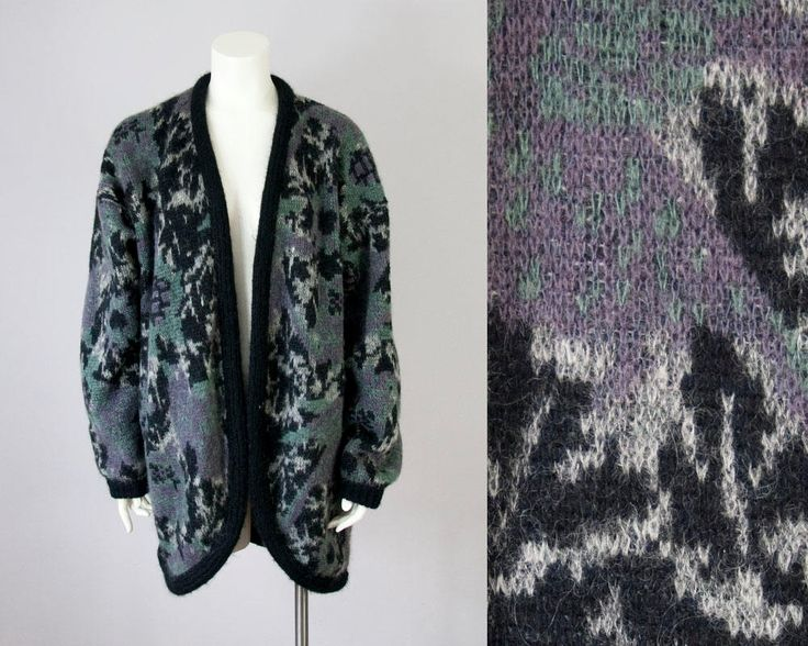 80s Vintage Fuzzy Wool Floral Knit Slouchy Cardigan. 80s Sweater Jacket (M) by vintageonlythebest on Etsy