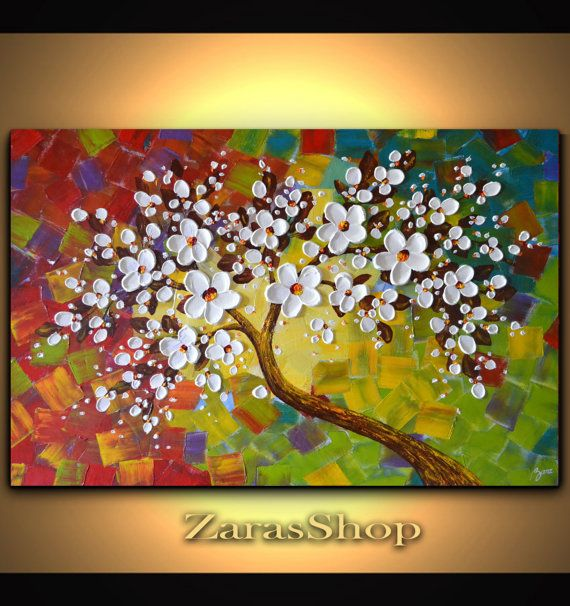 White cherry blossom tree painting, colorful landscape textured art, large wall decor, 36 x 24 impasto painting