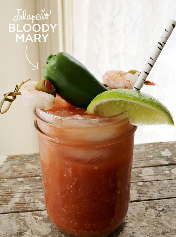 Jalapeno Bloody Mary Recipe  Needed: Bloody mary mix, jalapeño vodka, horseradish sauce, lime. Shrimp, fresh jalapeño and olives for garnish.