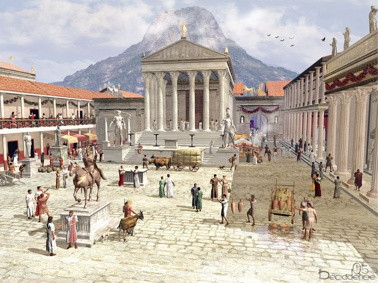 This is the Forum of Pompeii as it would have looked in the year 61 CE.  In February of 62 CE, an intense earthquake left the Forum and parts of the city in ruin. 17 years later on Aug 24 in 79 CE, Mt.Vesuvius erupted.