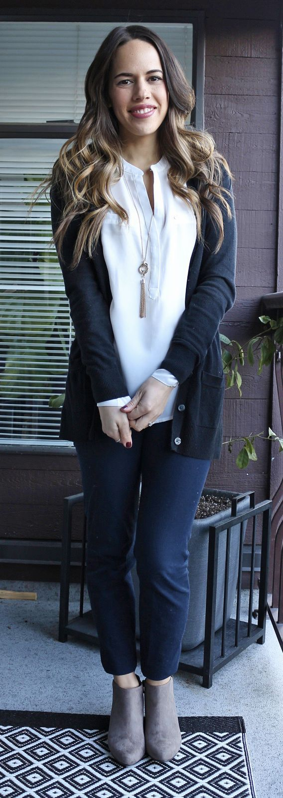 Jules in Flats - Old Navy Pixie Pants and Sueded Booties, Dynamite blouse, Gap cardigan https://bellanblue.com
