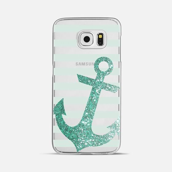 Glitter Anchor in Mint - Classic Snap Case