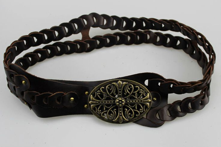 Curved Buckle Leather Belt
