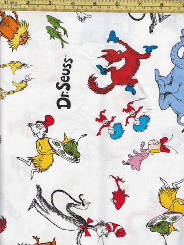 FAT Quarter DR Seuss Fabric Tossed Characters White | eBay ... : dr seuss quilt fabric - Adamdwight.com