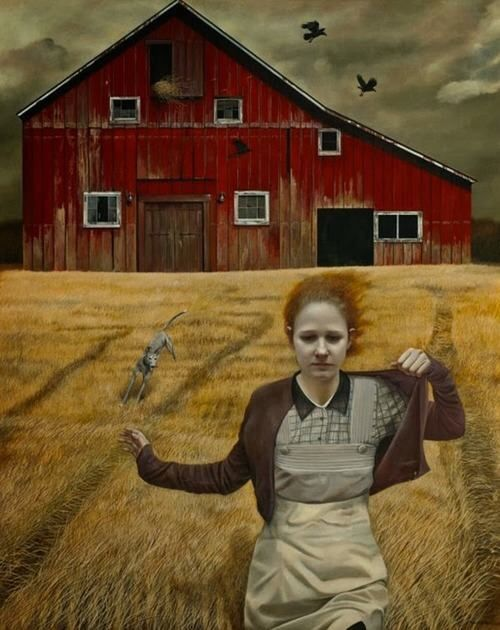 """Andrea Kowch """"Dream Chaser""""  60"""" x 48""""  Acrylic on canvas"""