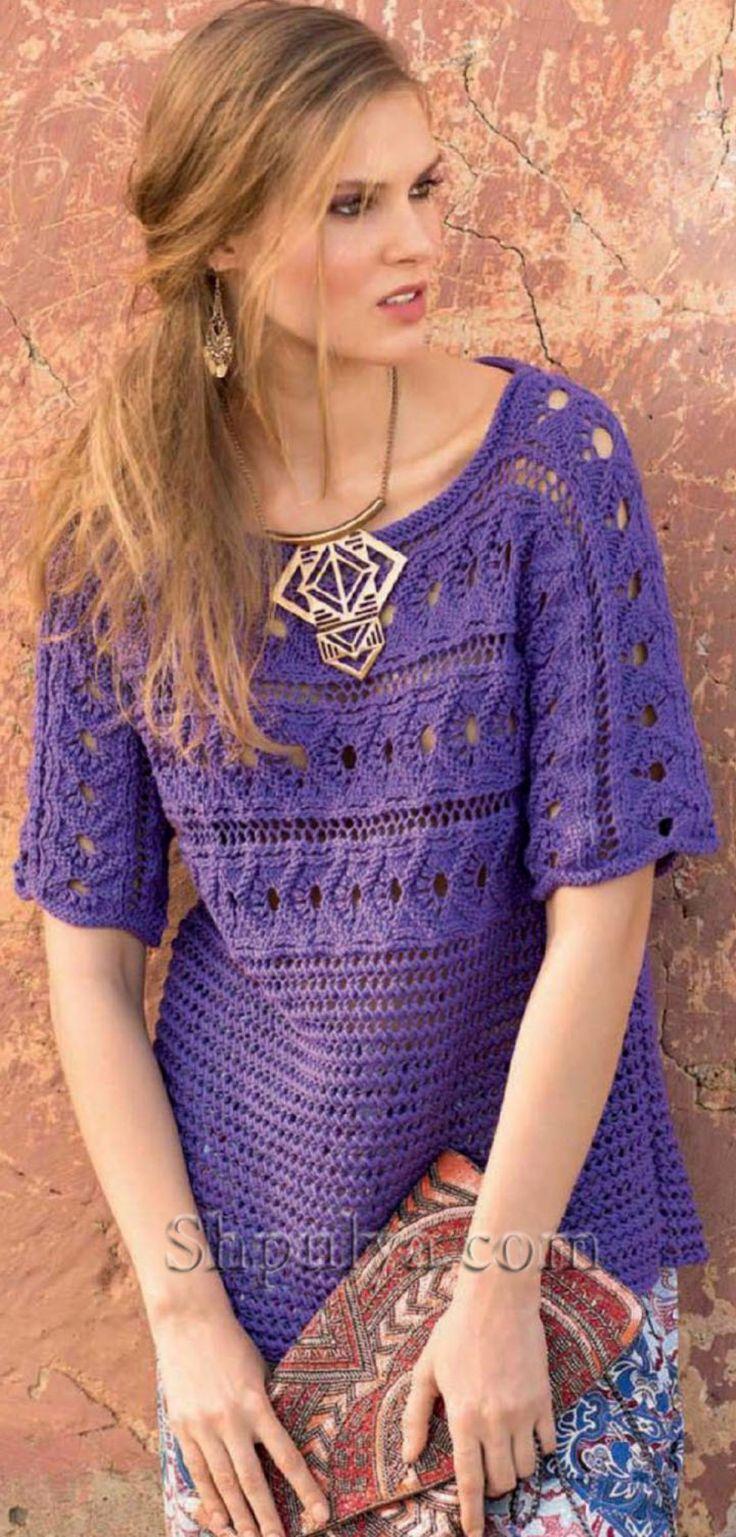Фиолетовый пуловер связанный поперек