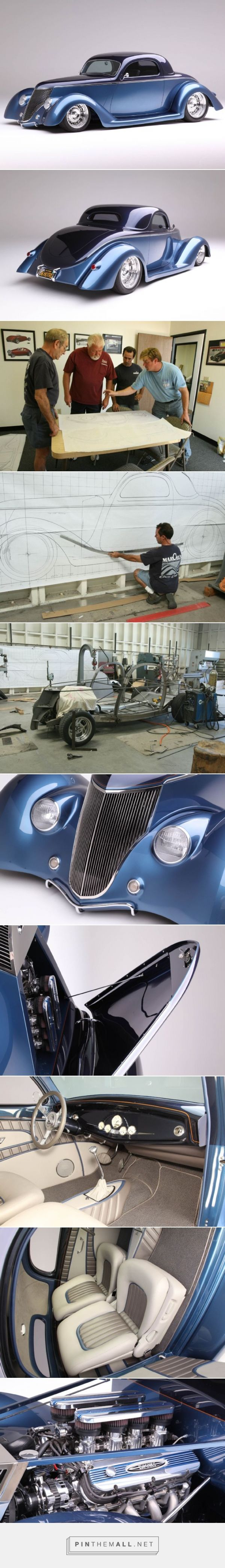 """1936 Ford Coupe is Chip Foose Designed and Handformed in Metal by Marcel del Lay """"The engine in this ride is as impressive as the rest of the car, and it came from Roush Performance. One of their 427IR crate motors, the V-8 produces over 550 hp on the dyno. Mated to an Art Carr–prepped 4R70W four-speed automatic transmission (selected with a Lokar shifter), the powerplant will have more than enough power to quickly launch Bob Sr. anywhere he might want to go. That's in part to the…"""
