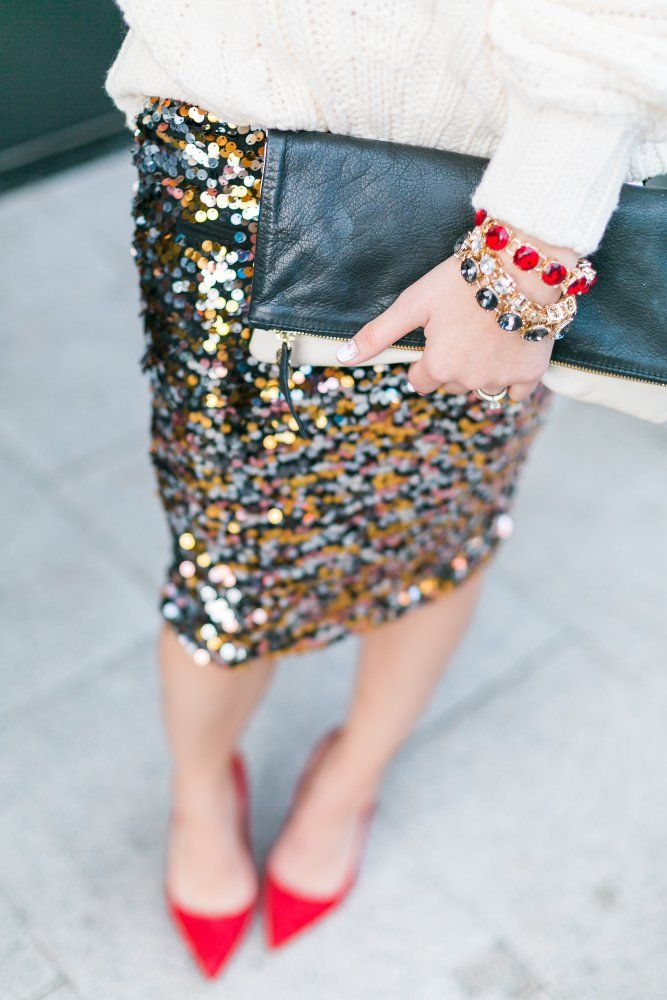 New Year's Eve Look • | Red Heels | Sparkly skirt outfit | Uptown With Elly Brown