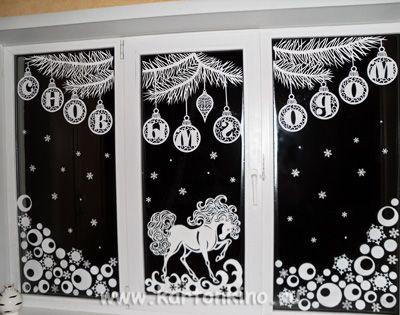 Украшение окна из бумаги к новому году