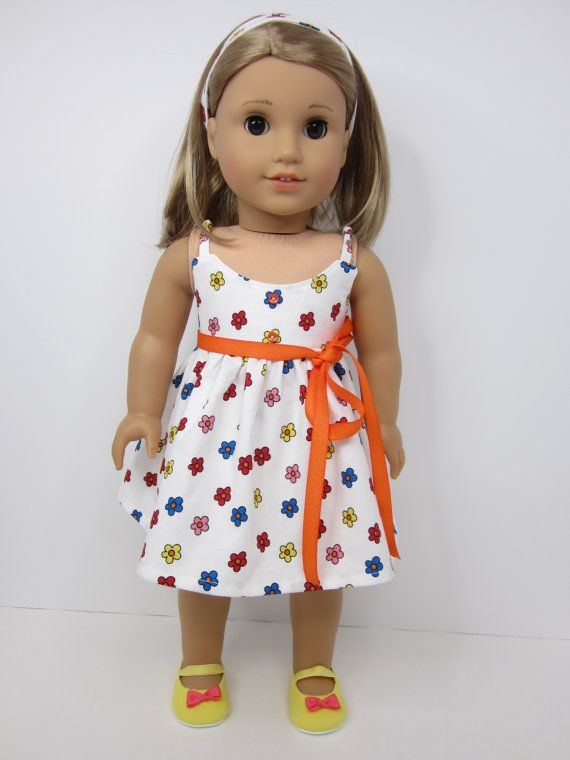 Fun flowered sundress by JazzyDollDuds on Etsy. Made from a modified version of the LJC Maxi Dress pattern. Find it at http://www.pixiefaire.com/products/maxi-dress-18-doll-clothes. #pixiefaire #libertyjane #maxidress