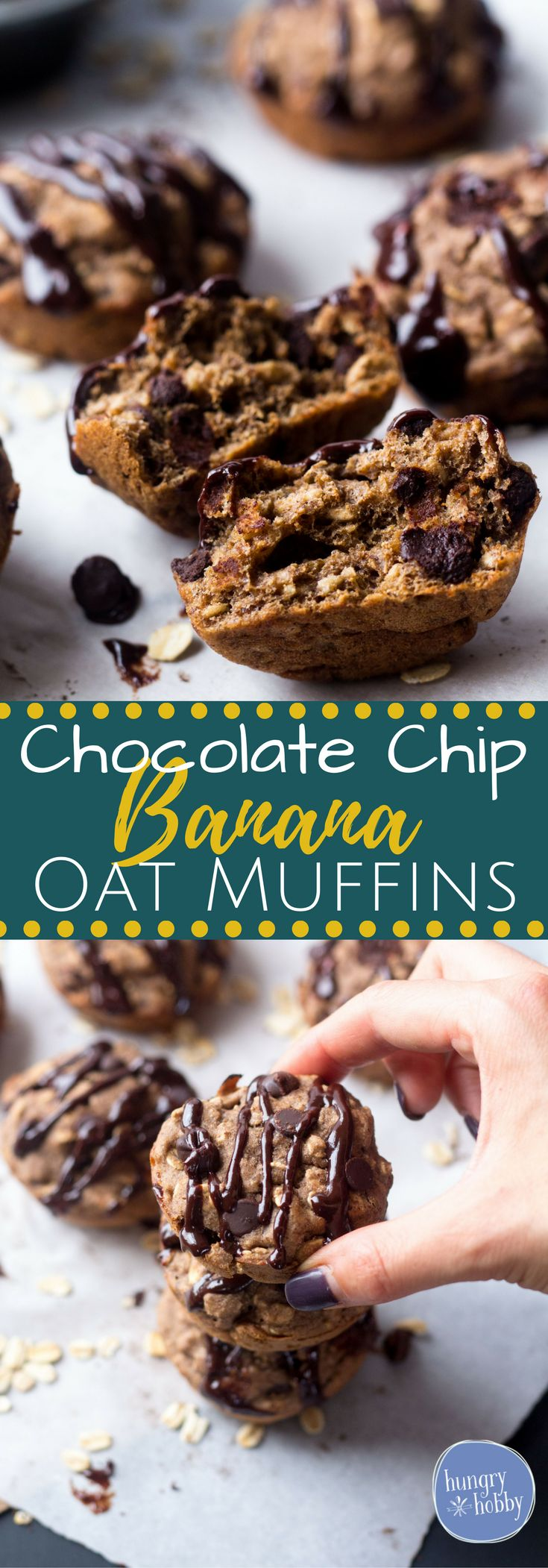 One Bowl Chocolate Chip Banana Oat Muffins - 135 calories per muffin, bursting with a balance of wholesome ingredients & sweet chocolate chips! via @hungryhobby