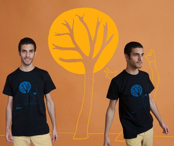 A man with a tree Men's T-Shirt Blue on black by MoonTshirt