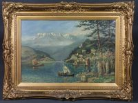 """Lot 658 - H Thornton, early 20th Century British School, oil on canvas, an Italian lake scene with town quay in foreground and the Dolomites to the distance, signed and dated 1916, 19.5""""h x 29.5""""w £400-600"""