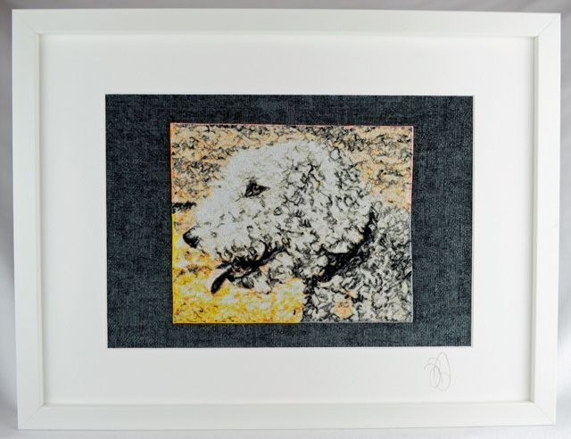 Meet Bedlington Terrier Boris - an embroidered pet portrait. Commissions taken, just email us a high resolution image in jpeg format for a free no-obligation quotation. info@thehebrideandesigncompany.com