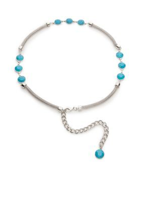 New Directions Women's Mesh Chain Belt With Stones - Silver Turquoise - S/M