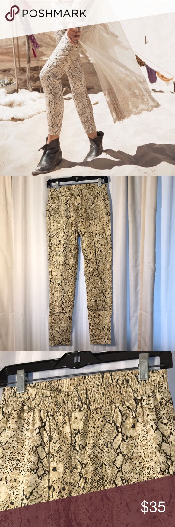 Spell & The Gypsy Snake Print Pants Snake print pants from Spell. Elastic waist. Size medium Spell & The Gypsy Collective Pants