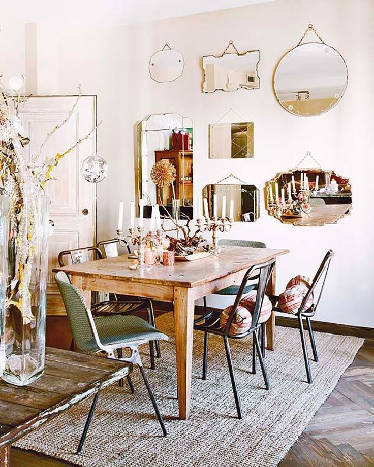 lovely wall of vintage mirrors and eclectic