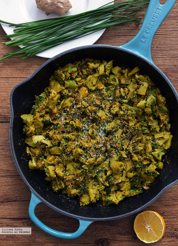 e explicamos paso a paso, de manera sencilla, la elaboración de la receta de Sartén de brócoli con especias y coco. Ingredientes, tiempo de elaboración