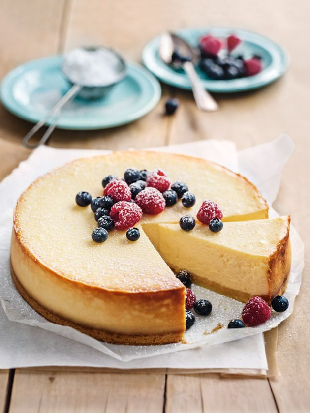 Donna Hay's classic baked cheesecake (with ricotta and cream cheese) | make sure you don't bake it too long (still wobbly in middle) and cool it down slowly (in the oven), so it won't crack
