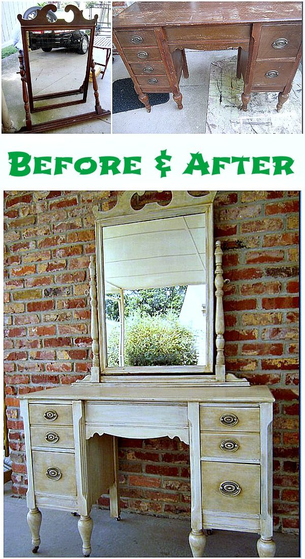 How to antique furniture in two simple steps. Tutorial has before and after photos with detailed shots showing the aging, antiquing process for the paint. Off white paint antiqued with Caromal Colours Toner. Painted furniture makeover tutorial at Petticoat Junktion.