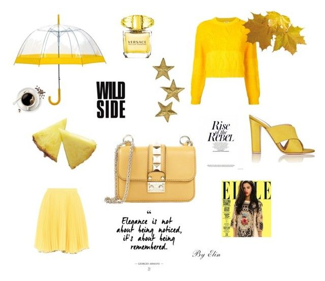 Yellow Rebel by elinohrner on Polyvore featuring polyvore, moda, style, Coohem, Boutique Moschino, Gianvito Rossi, Valentino, Versace, fashion and clothing