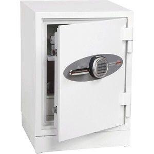 Caja fuerte de moderno y compacto diseño para protección de documentos frente al fuego hasta 90 minutos y equipada con una cerradura electrónica de alta seguridad programable hasta 16 dígitos. Capacidad: 145 Litros