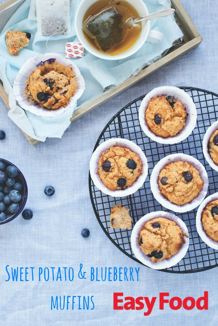 HEALTHY SWEET POTATO & BLUEBERRY MUFFINS 🙌 #healthy #baking #kidskitchen