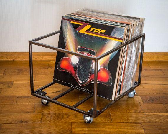 """12"""" vinyl LP record opslag metalen kist / / minimalistische stijl vak op vier roterende wielen //container houdt over 80 LP records/gratis verzending"""