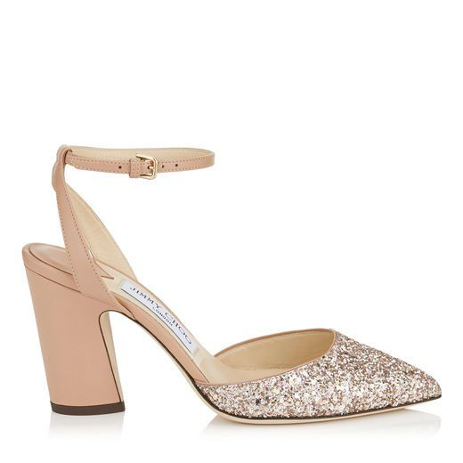 3bd5296e290 MICKY 85. Micky 85 Pointy Toe Pumps in Ballet Pink Shadow Coarse Glitter  Fabric.